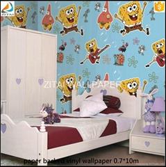 3D decorative vinyl coated washable anime kids wallpaper for room