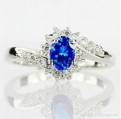 Exquisite 925 Sterling Silver Natural Sapphire Gemstones Birthstone Bride Prince