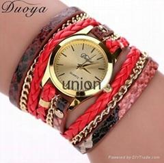 Women's Casual Vintage Multilayer Wristwatch Weave Wrap Rivet Leather Bracelet W