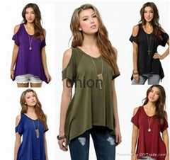 9 colors Women Fashion Off Shoulder Ladys Casual Loose T-shirts Tops Soft Cotton
