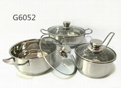 6PCS Stainless Steel Cookware Set with High Quality Glass Lids