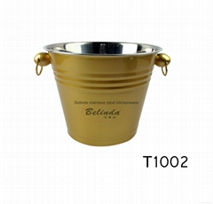 Chaozhou Caitang Kitchenware Stainless Steel Golden 6L Ice Busket