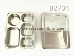 Hot Stainless steel 3 compartments food storage lunch box