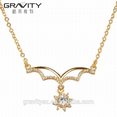 Top Selling zircon jewelry 14k gold necklace for weeding