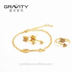 Lastest simple design thailand 18k/24k gold plated jewelry set