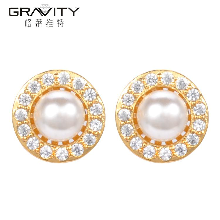 2017 Round Shape Dubai Pearl Earrings tops design With Gold Plated ...