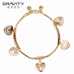2017 trending products custom heart sharp copper bracelet women fashion jewelry