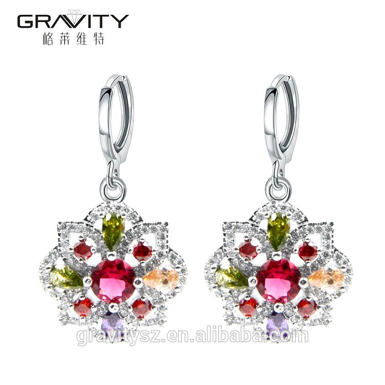 Hot selling products artificial colourful stone 925 silver jewelry set 3