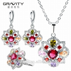 Hot selling products artificial colourful stone 925 silver jewelry set