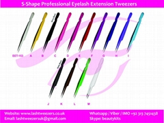 S-Shape Professional Eyelash Extension Tweezers Straight