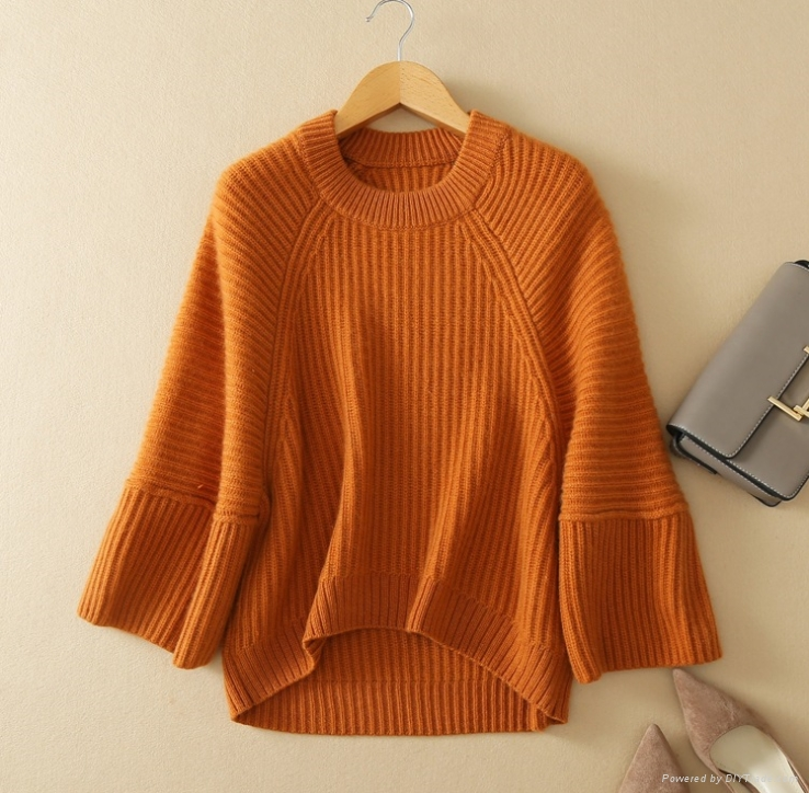 Lady's new fashion knitting pullover pure cashmere casual style thick sweater 2