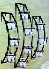 家庭装饰用铁艺蜡台(含玻璃不含蜡烛)