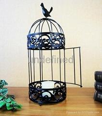 桌面家居装饰用鸟笼形状的铁艺蜡台