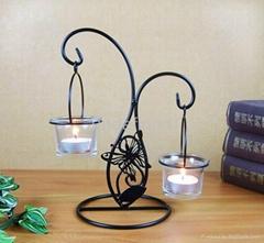 家居桌面裝飾鐵藝蠟台含杯子