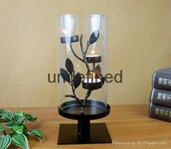 圆柱状铁艺蜡台含玻璃不含蜡烛家居装饰用