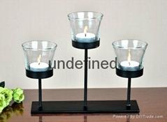 家居装饰桌面铁艺茶蜡烛台含玻璃杯不含茶蜡