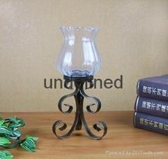 复古家居铁艺蜡台含玻璃不含蜡烛
