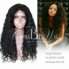 peruvian virgin hair natural curl lace wig