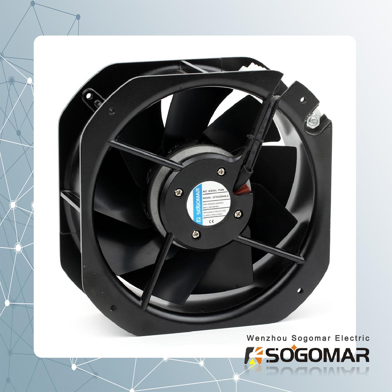 225x225x80mm Axial fan metal blades 220VAC 3
