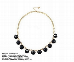 Black resin stones gold chain long necklace