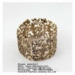 Antique gold color casting alloy elastic bracelet pulsera