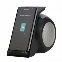 Fast wireless charger vertical wireless charger stand with bluetooth speaker 4.0