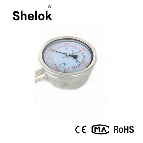 Stainless steel hydraulic capsule oil pressure gauge 3