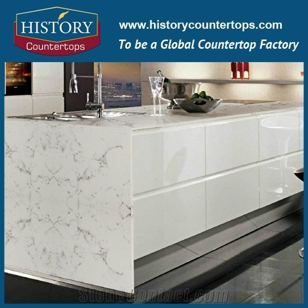 China Hottest Sale Low Price Quartz Cararra White for Countertops with Customize 4