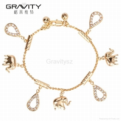 2017 new Gold Plated Elephant Pendant charm Bracelet Bangle Jewelry