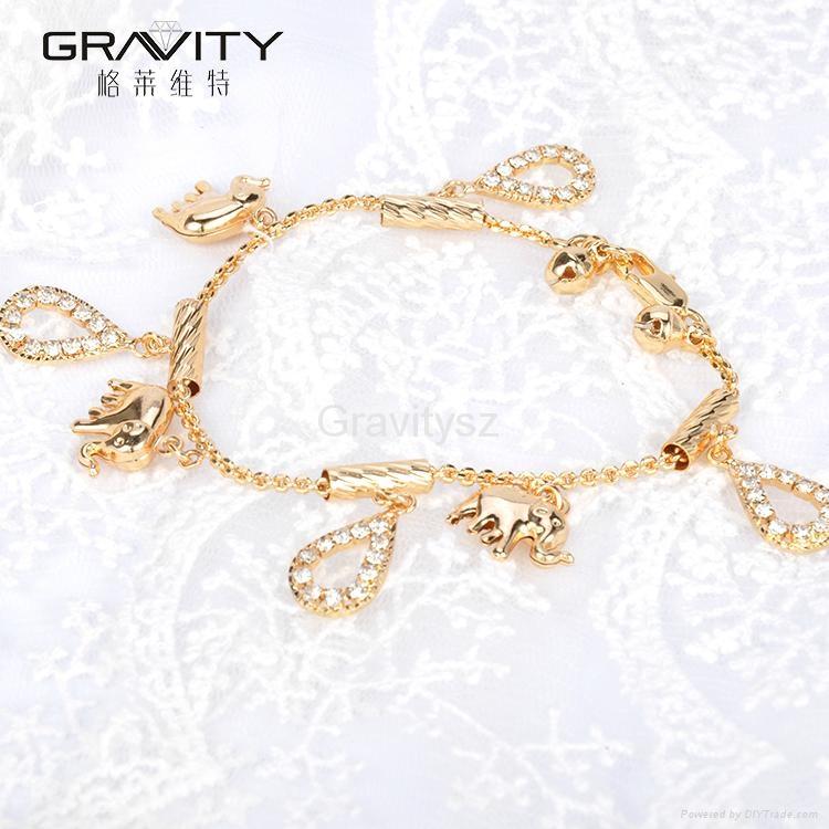 2017 new Gold Plated Elephant Pendant charm Bracelet Bangle Jewelry 4
