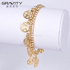 SLOG0019 Shenzhen Gravity best selling brass jewelry dubai gold plated bracelets
