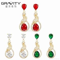 2017 newest Stylish diamond Gold Plated drop earring Jewelry