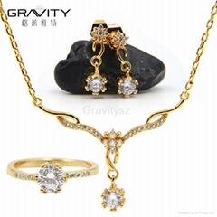 2017 latest design fashion 18k gold plated wedding handmade necklace jewelry set