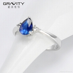 fashion prong setting blue solid zicron vogue jewelry rings for women