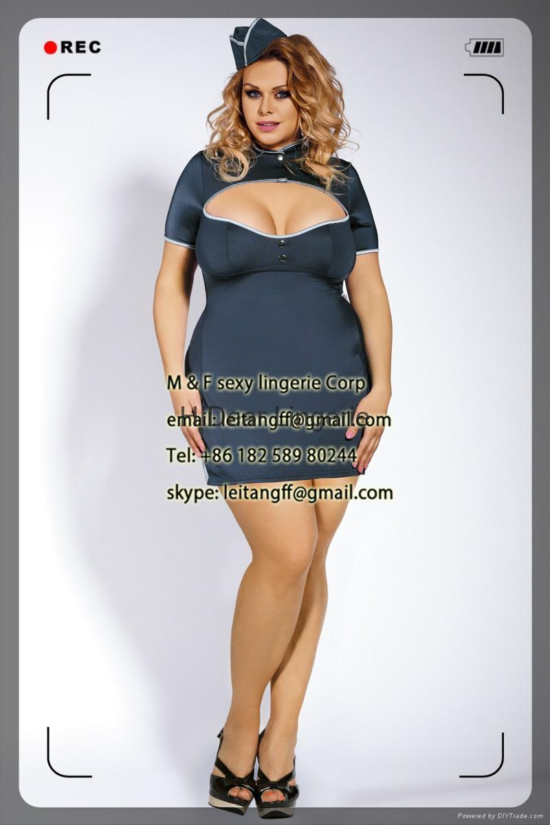 PLUS SIZE Stewardess Costume sexy lingerie  1