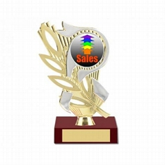 "Sales Award Silver/Gold 2"" Holder, Strawberry Base"