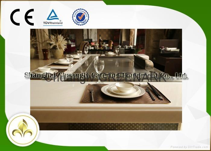 Electromagnetic Heating Rectangle Seven Seats Teppanyaki Grill Table 2