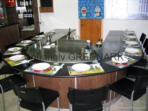 10 Seats Arched Shape Stainless Steel Teppanyaki Grill Table 1