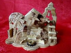 olive wood musical Christmas nativity set