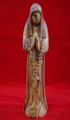 olive wood virgin Mary pray the rosary statue