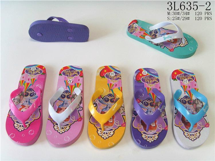 Summer cartoon princess printed multicolors eva flip flops slippers for kids gir 1
