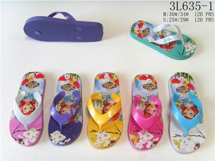 Summer cartoon princess printed multicolors eva flip flops slippers for kids gir 2