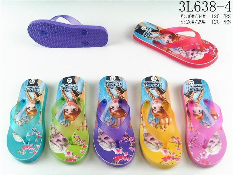 Summer cartoon princess printed multicolors eva flip flops slippers for kids gir 3