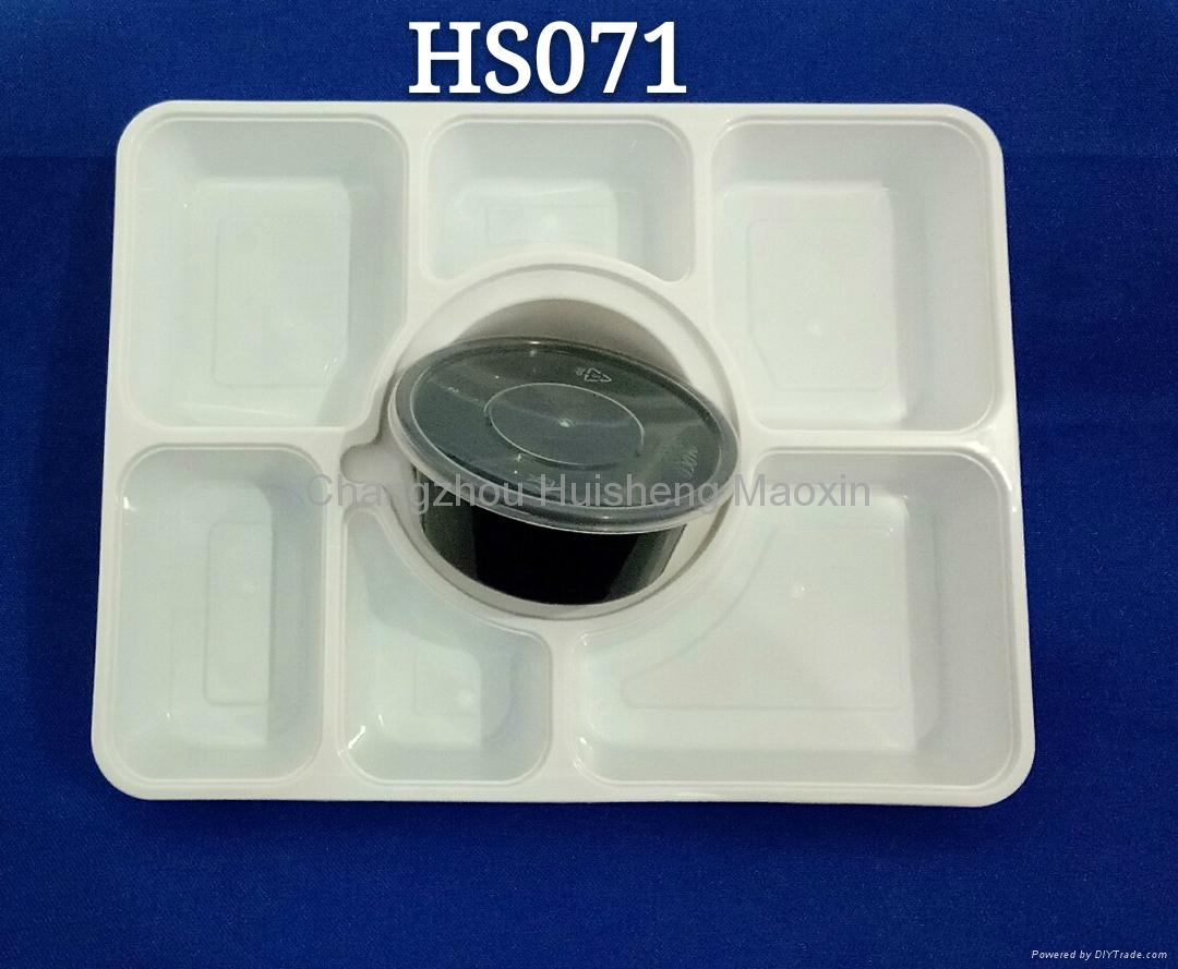 Rectangle 7+1 Seven Compartments Disposable PP Microwaveable Food Container 4