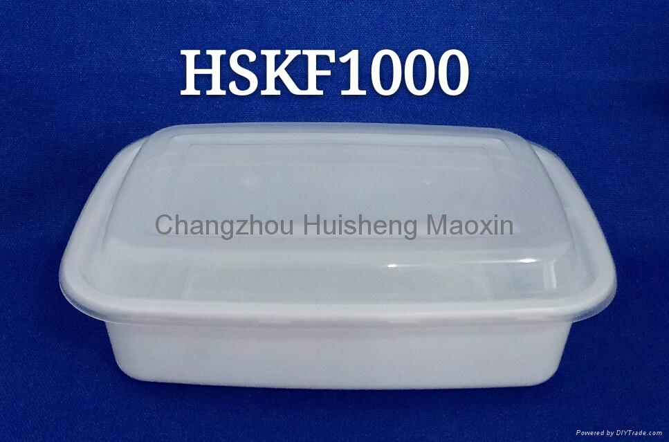 Rectangle KF1000ml Disposable PP Plastic Microwave Safe Dinnerware with Inner Tr 2