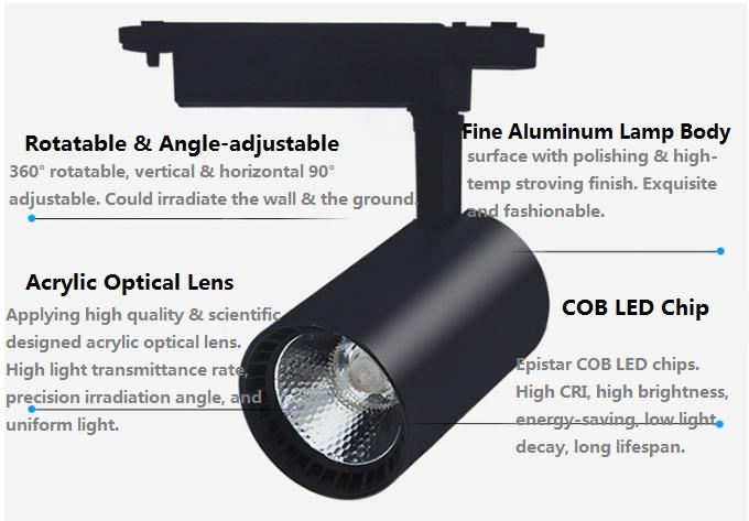 Hot-selling High Bright Epistar COB LED Track Light 10W 20W 30W 3 years warranty 3