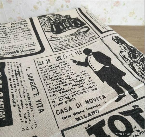wholesale Industrial Times Newspaper printed linen cotton fabric for table 5
