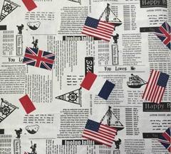 T032 55%L and 45%C UK flag linen cotton jacquard fabric