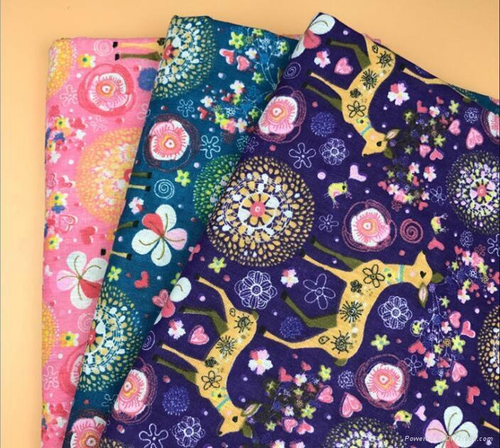 custom digital Milu deer printing linen cotton Christmas fabric 1