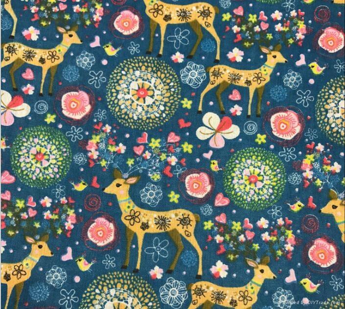 custom digital Milu deer printing linen cotton Christmas fabric 2